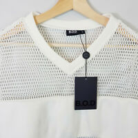 B.O.D By Finch   Womens Mesh Sweater Top w/Logo NEW [ Size M or AU 12 / US 8 ]