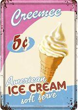 NOSTALGIC Art American ICE CREAM CREMA GELATO frullati cartolina LAMIERA