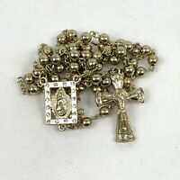 Gold Colored Wash Holy Rosary with Rhinestones and circlet of roses w/ prayer