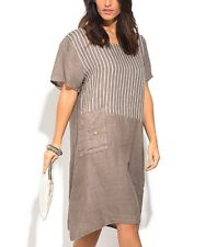 Linen Dress Plus Size 22 Beige Stripe Contrast With Side Pocket