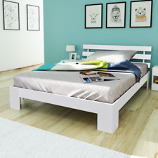 White Double Bed Wooden Frame Beds Solid Wood Slats Bedroom Furniture 4FT6
