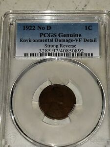 1922 NO D STRONG REVERSE Lincoln Cent Wheat Penny — PCGS VF DETAILS
