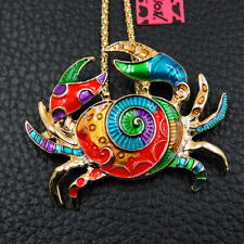 New Enamel Colorful Cute Crab Animal Pendant Betsey Johnson Chain Necklace