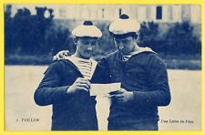 cpa 83 - TOULON (Var) MARINS à bord du COURBET en 1922 Une Lettre du Pays