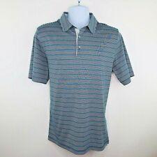 Ashworth Mens Golf Polo Shirt Size Medium Navy Blue Green Gray Stripe
