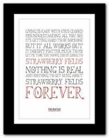 THE BEATLES - Strawberry Fields Forever ❤ song typography poster art print