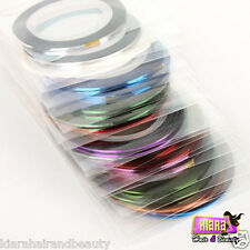10 x Colours Nail Art Striping Tape Line Tips Nail Decoration Sticker UK Seller