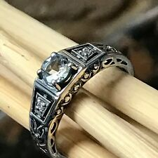 Natural 0.5ct Aquamarine 925 Solid Sterling Silver Art Deco Filigree Ring sz 6