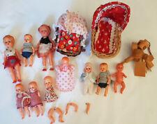 Konvolut : 10 alte kleine Puppen - teils Schlafaugen - E.S. Germany + Zubehör