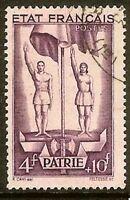 "Francia Sello Stamp Yvert N º 579"" Casa 4F+10F Violeta Oscuro"" Matasellado MB"