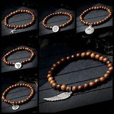 Yoga Chakra Prayer Women Men Bracelet 3D Om Buddha Pendant Wood Beaded Bracelets