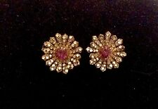 "Vintage 1-1/8"" Signed MIRIAM HASKELL Clip-On Diamanté/Purple Glass Earrings"