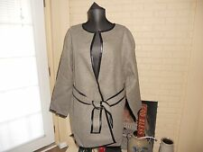 NWT MADEWELL 1937 LEATHER (FAUX)- TIPPED WRAP COAT GRAY SIZE 6