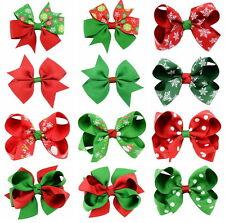 12 Pcs Girl Christmas Holiday Gift Snowflake Ribbon Hair Bows Clip Girl Hairpin