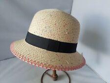 Mudd Women's Hat NEW Straw Natural Cross Shop Ribbon Summer Casual O/S