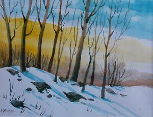 """22/29 cm. Acquarello,ORIGINALE """"paesaggio invernale"""" autore Khromykh Natalia"""