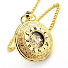 Antique Mechanical Skeleton Steampunk Men's Pocket Watch Open Case Roman Watches
