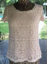 Crochet Trim Longer Back Nylon Fringe Trim Short Sleeve Shirt Sz. M