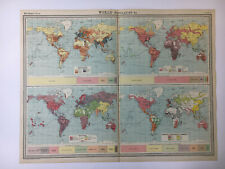 1922 Antique Old Map Bartholomew Times Atlas Of World Population