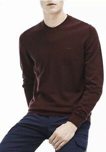 Lacoste Men's Crew Neck Wool Jersey Sweater in Vertige- Maroon RRP £135