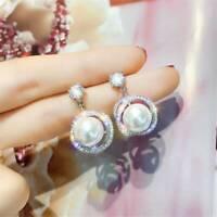 Gorgeous 925 Silver Filled White Sapphire Pearl Drop Stud Earrings Women Jewelry