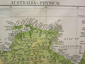 1919 LARGE MAP ~ AUSTRALIA PHYSICAL LAND HEIGHTS TASMANIA VICTORIA QUEENSLAND