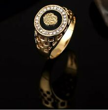 14 k Gold Plated Medusa lion  Men's  Signet Band Rings  Sizes -L 6 TO -Z13