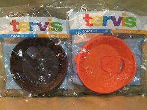 2 Tervis Tumbler Company - 24 oz. Tumbler Lid - brown + Orange Both New
