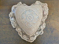 Antique VINTAGE Heart Shape LACE COVERED Emery Straw PIN CUSHION Valentine Gift