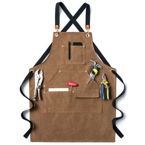 Bib Canvas Unisex Work Apron w/Tool Pockets f Gardening Carpentry Hand Pottery