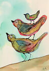 """ACEO Art PRINT BIRDS stacked up by Lynne Kohler 2.5x3.5"""""""
