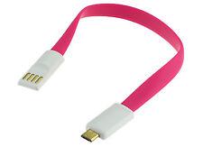 CAVO MICRO USB A USB PIATTO CON TESTE MAGNETICHE FUCSIA