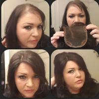 100% Women Virgin Human Hair Replacement Tooper Top Piece Silk Base Cover Gray M