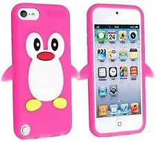 PINGUINO ROSA GOMMA IN SILICONE BACK CASE COVER SKIN per iPod Touch 5