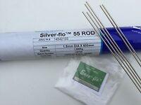 Plateado Soldado Kit Silver-Flo 55/Brazetec 5507 5 Varillas X 250mm 1.5mm + Flux