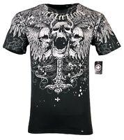 AFFLICTION Mens T-Shirt SAINT SCREAM Biker Tattoo Skulls Cross MMA GYM S-XL $40
