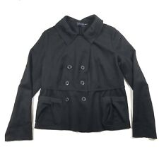 Magaschoni Collection Womens 14 Cashmere Blend Button Double Breasted Coat Black