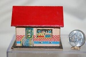 Miniature Dollhouse Vintage 70's Taiwan Childs Toy Paper Shop/House 1:12 NR