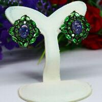 NATURAL BLUE TANZANITE & GREEN TSAVORITE GARNET EARRINGS 925 STERLING SILVER