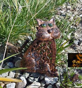Antique Color Metal Cat Solar Amber LED Garden Landscape Walkway Lightings