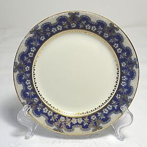Vintage Aynsley #A3410 Bread & Butter Plate in Gold, Silver & Cobalt c1930s