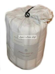 ORGANIC HEARTH & HAND MAGNOLIA Tic Stripe CAL KING SHEET SET Pebble Sour Cream
