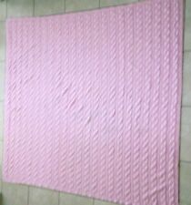 "Hand Knitted CableStitch Pink Afghan Throw,Crib Blanket, 48""x 60"",Synthetic Yarn"