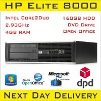 HP Compaq Elite 8000 SSF Intel Dual Core 2.93 GHz 4GB RAM 160GB HDD Win7 Pro DVD