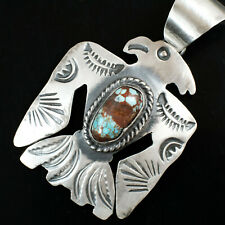 Turquoise & Silver Navajo Thunderbird Native American Jewelry Necklace Pendant