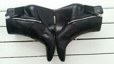 Nine West Ladies Black Leather Wedge Ankle Boots Size 9M
