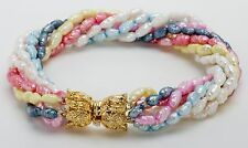 Fresh Water Pearl Bracelet with Seven Strands in Stunning Spring Colors!