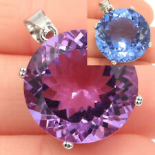 30x20mm Big Round Gemstone Color Changing Alexandrite & Topaz Silver Pendant