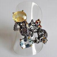 Fine Art Saphir Blautopas Turmalin Silber Ring 925 Black Rhodium Gold 17,8mm 56