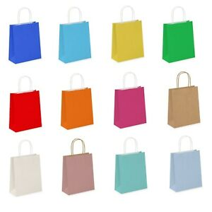 Coloured Paper Party Bags Gift Bag With Handles Birthday Loot Bag Recyclable